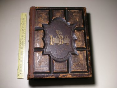 "Antique 19thc Holy Bible A.J. Holman Philadelphia - Family ""MANNING"""