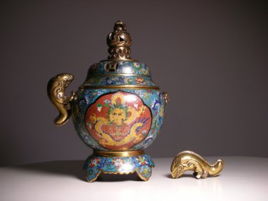 LOCAL PICKUP ONLY - Vintage Chinese Cloisonne Incense Burner Pot (Fish Handles)
