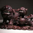 Vintage Chinese Foo Dog Lion & Pup Rosewood-Color Wood Carving Figurine