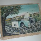 1950 Jewish Landscape Building Shrine Canvas Cloth Oil Painting by I. Flamenbaum