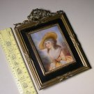 Vintage Miniature Lady Portrait Painting on Celluloid with Frame by Bohne