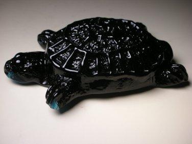 American Blenko Glass Black-Cobalt Turtle Paperweight Handmade