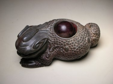 Vintage Chinese Soapstone Carved Jinchan Money Frog Toad Figure - REPAIR