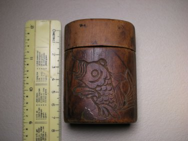Vintage Japanese Tobacco Leaf Natural Wood Carved Sagemono Inro Box Case