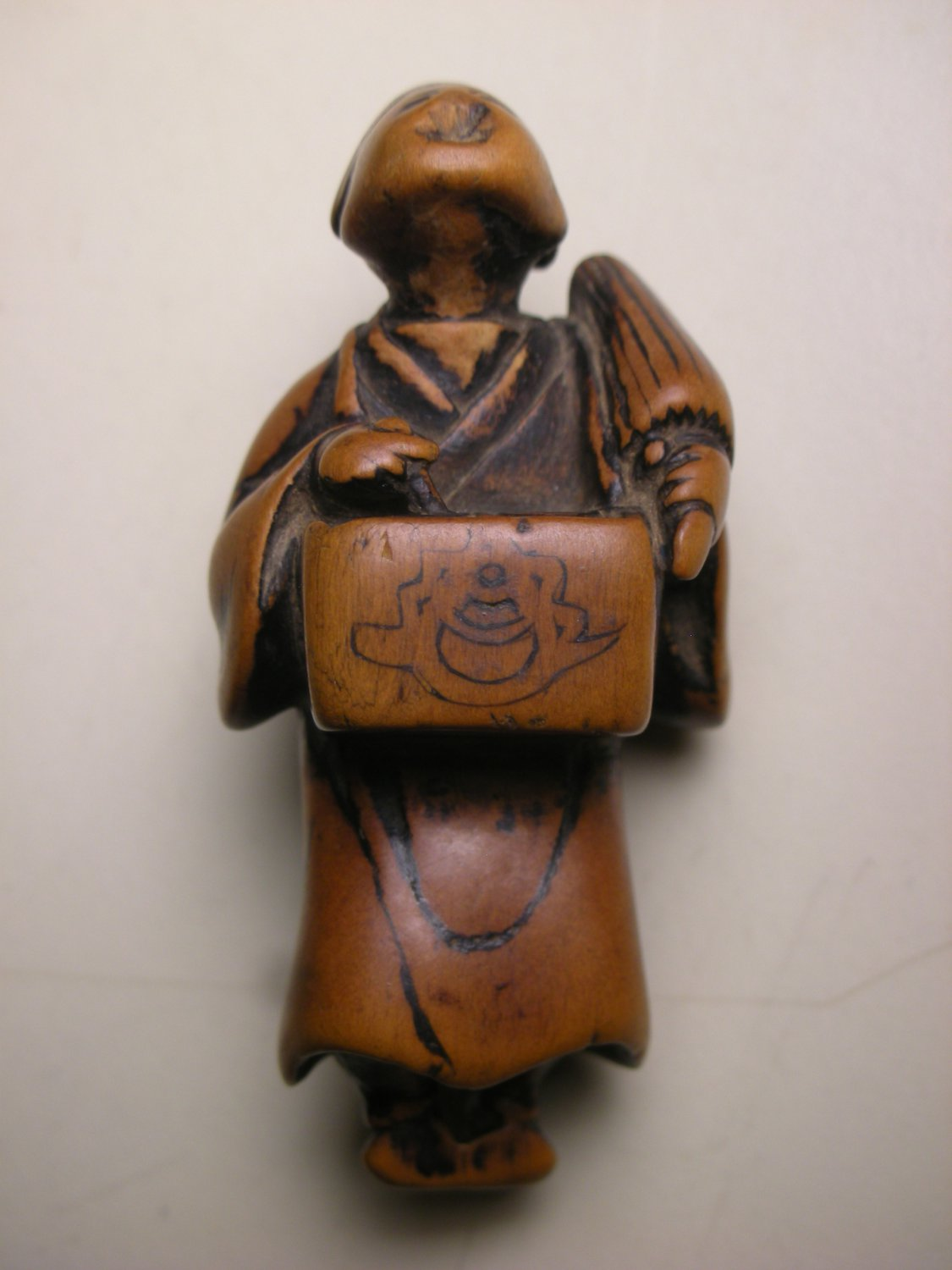Group of three chinese and japanese boxwood carvings for sale at