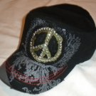 Black Peace Sign Rhinestone Cadet Hat