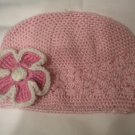 Pink Crochet Hat with Pink and White Crochet Flower 2