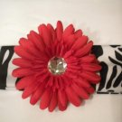 Zebra Print Headband With Red Flower