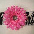 Zebra Print Headband With Hot Pink Polka Dot Flower