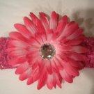 Hot Pink Crochet Headband With Hot Pink Flower