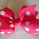 """4 1/2"""" hot pink polka dot bow"""