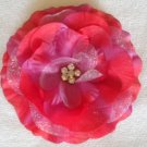 "4"" Hot Pink Rhinestone Center Flower Clip"