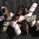 "3"" Mini Korker Barrettes - PINK & CHOCOLATE CHEETAH"