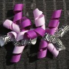 "3"" Mini Korker Barrettes - PURPLE & ZEBRA"