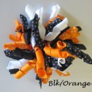 "4"" Fluffy Korker Clip - BLACK & ORANGE"