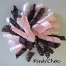 "4"" Fluffy Korker Clip - PINK & CHOCOLATE"