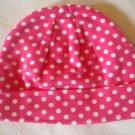 Cotton Beanie - Hot Pink & White Polka Dots