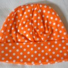 Cotton Beanie - Orange & White Polka Dots