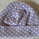 Cotton Beanie - Lavender & White Polka Dots