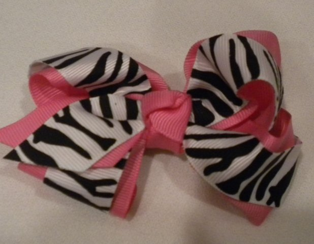 """4 1/2"""" hot pink and zebra bow"""
