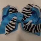 "4 1/2"" turquoise and zebra bow"
