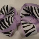 "4 1/2"" lavender and zebra bow"