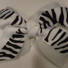 "4 1/2"" white and zebra bow"