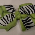 "4 1/2"" lime and zebra bow"