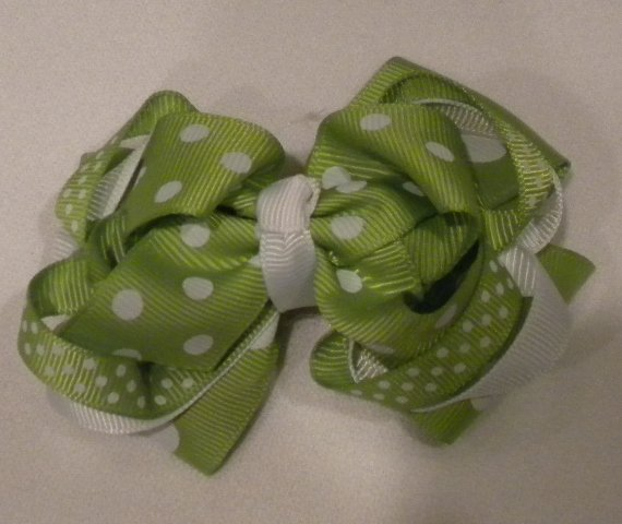 "4 1/2"" lime boutique bow"