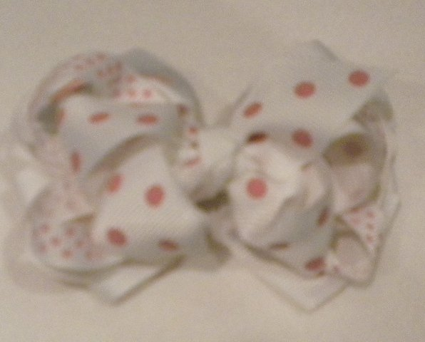"""4 1/2"""" white with pink polka dots boutique bow"""