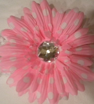 """4"""" Pink with White Polka Dots Daisy Hair Clip"""