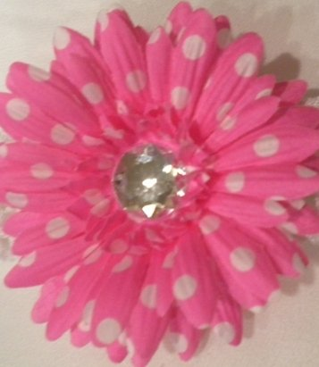 "4"" Hot Pink with White Polka Dots Daisy Hair Clip"