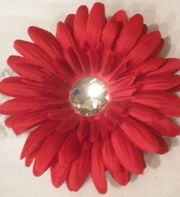 """4"""" Red Daisy Hair Clip"""