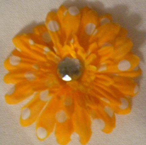 "3"" Orange and White Polka Dot Daisy Hair Clip"