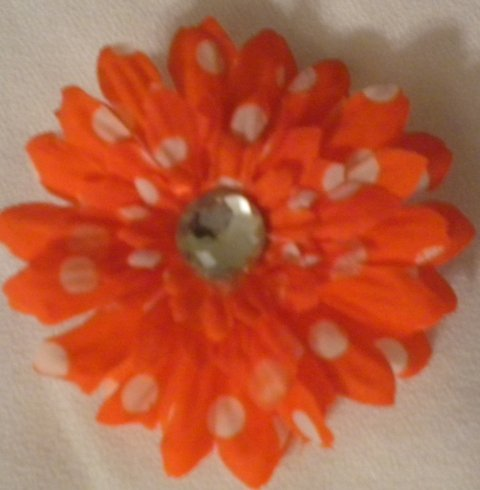 "3"" Red and White Polka Dot Daisy Hair Clip"