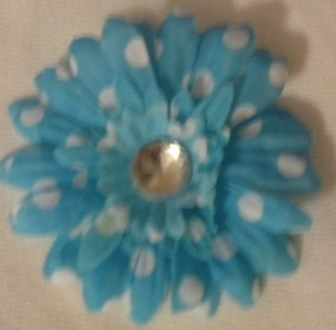 "3"" Turquoise and White Polka Dot Daisy Hair Clip"