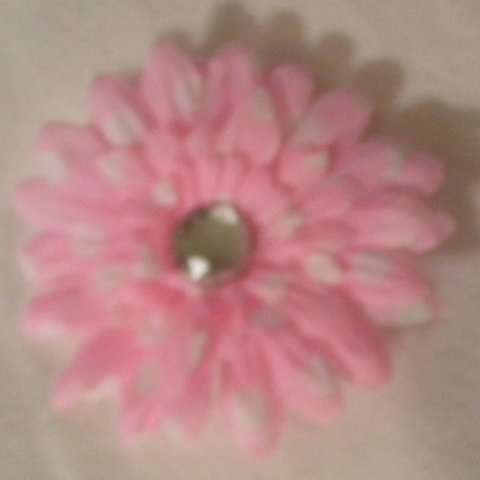 "3"" Pink and White Polka Dot Daisy Hair Clip"