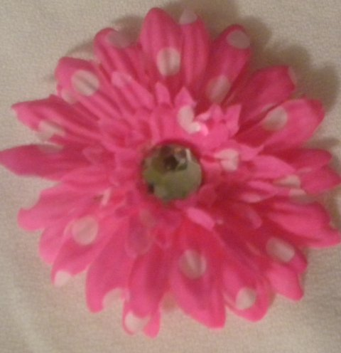 "3"" Hot Pink and White Polka Dot Daisy Hair Clip"