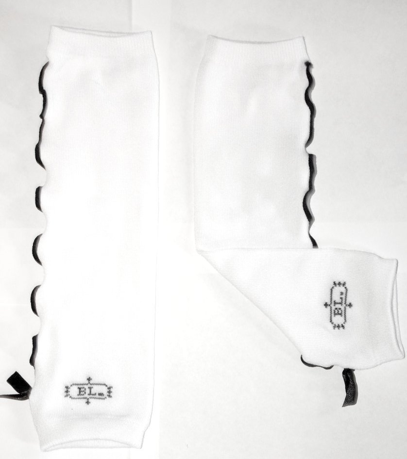 White With Black Ruffled Trim and Bow Leg Warmers
