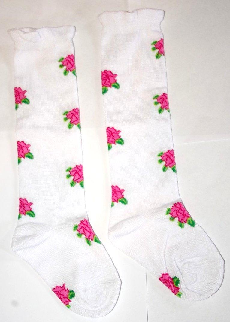 Girly Knee High Socks - Hot Pink Flowers