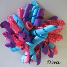 "4"" Fluffy Korker Clip -DIVA HOT PINK, TURQUOISE & PURPLE"