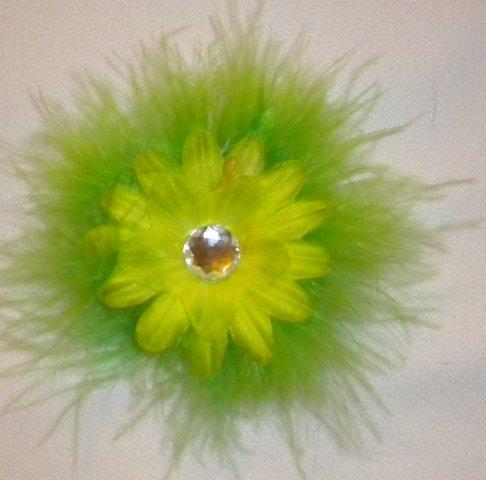 """4"""" Lime Marabou Flower Clip"""