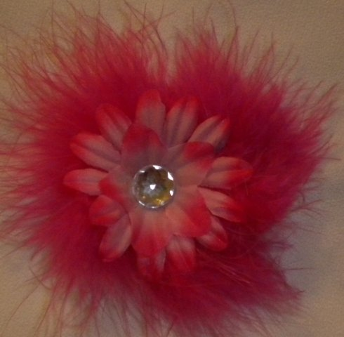 """4"""" Hot Pink Marabou Flower Clip"""