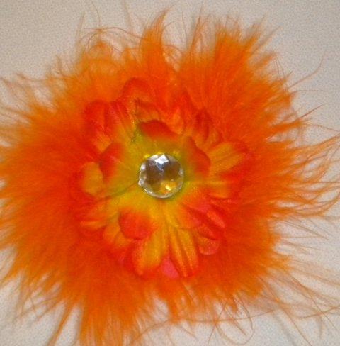 "4"" Orange Marabou Flower Clip"