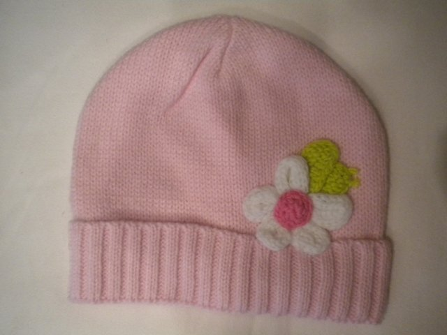 Pink Crochet Flower Winter Hat