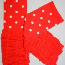 Red and White Polka Dot Ruffled Leg Warmers