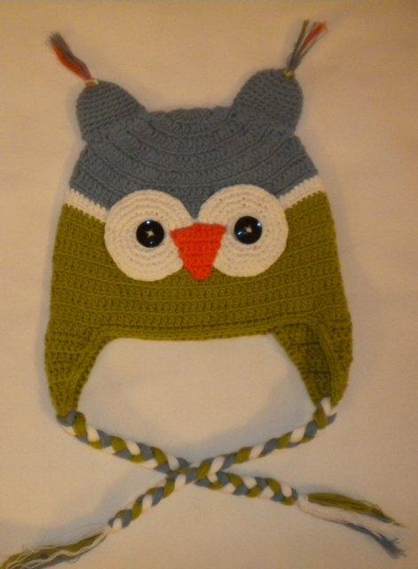 Crochet Owl Winter Hat - Boys