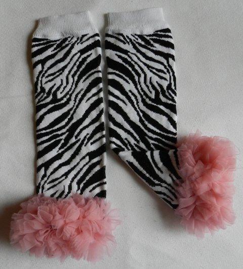 Zebra Print Leg Warmers with Pink Chiffon Ruffles