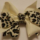 "4"" ivory cheetah double knot bow"
