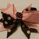 "4"" pink and chocolate double knot bow"